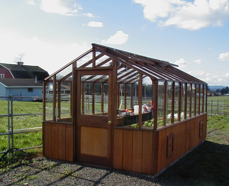Redwood greenhouse on farm in Oregon