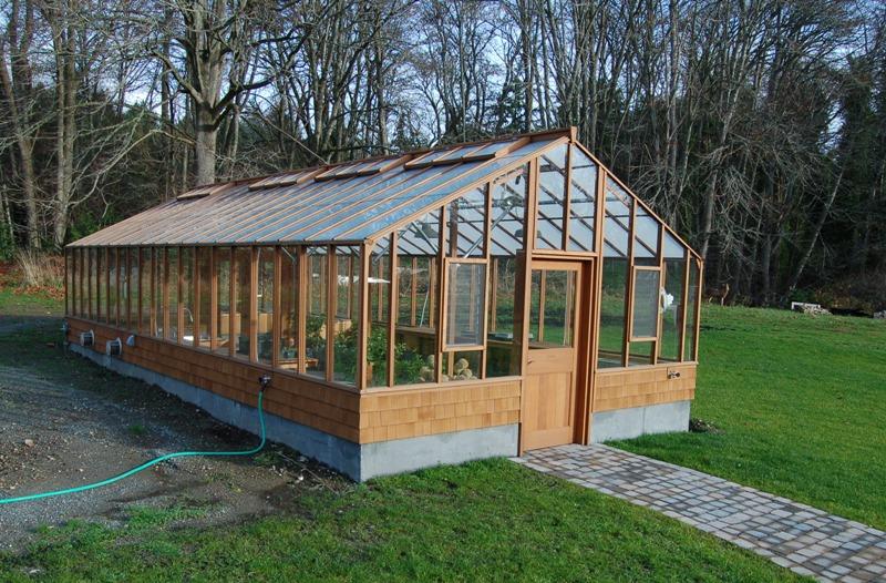 Large redwood greenhouse on Vashon Island WA