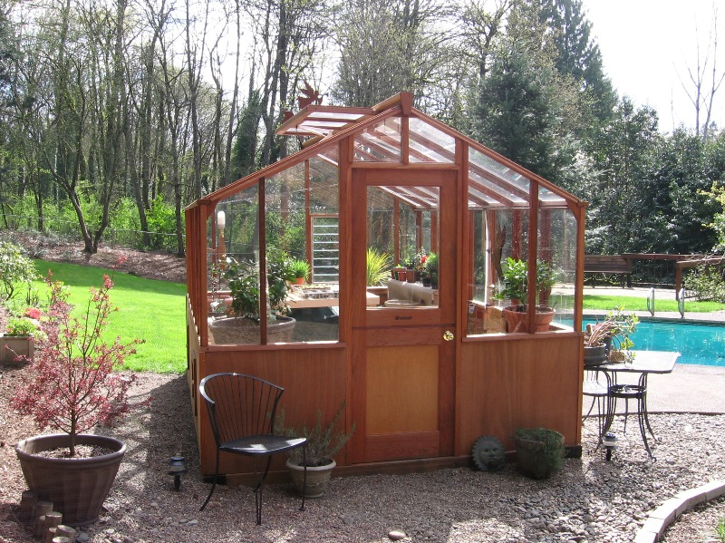 traditional redwood greenhouse