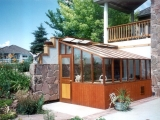 Custom lean-to redwood greenhouse