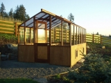 Redwood greenhouse with dutch door