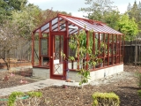 Greenhouse with tall glass walls