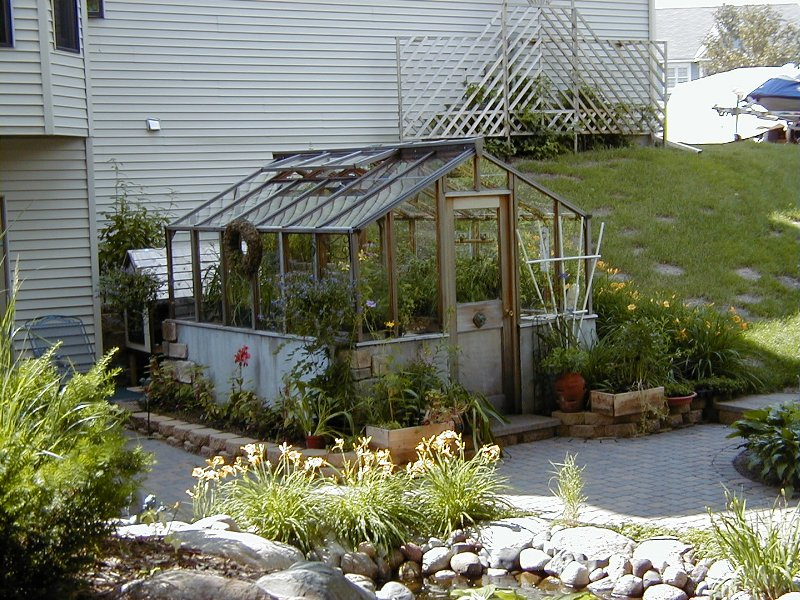 garden greenhouse on masonry base