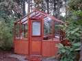 Redwood greenhouse with twin wall roof