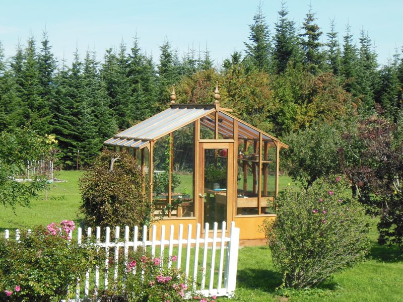 Tall glass greenhouse in Hood River OR