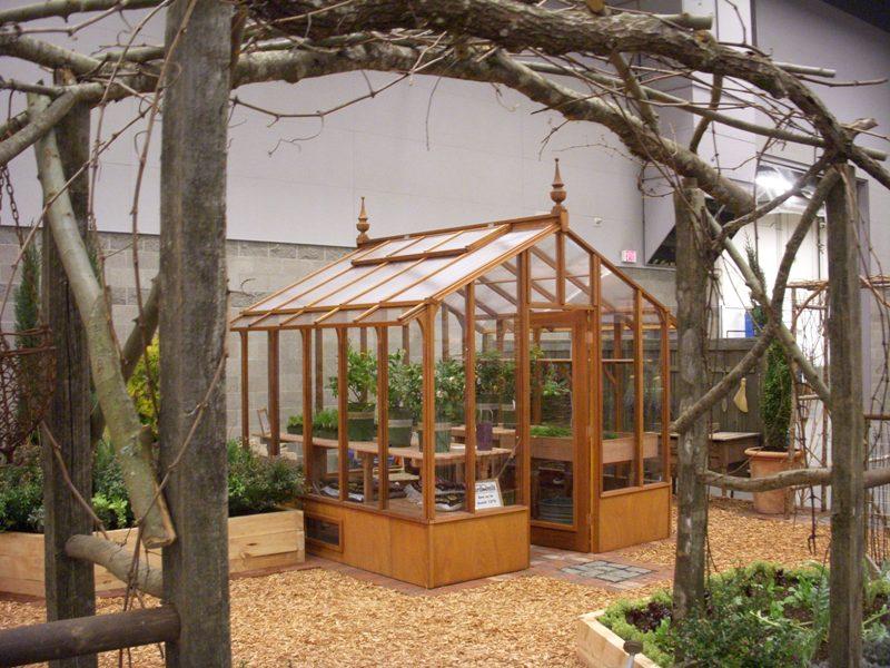 Tall redwood garden greenhouse