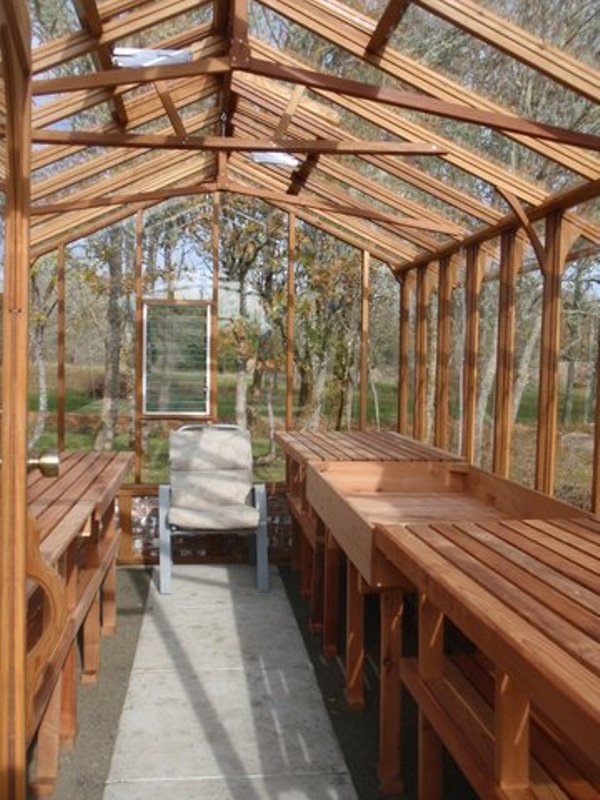 Interior of a 9ft wide redwood and glass greenhouse