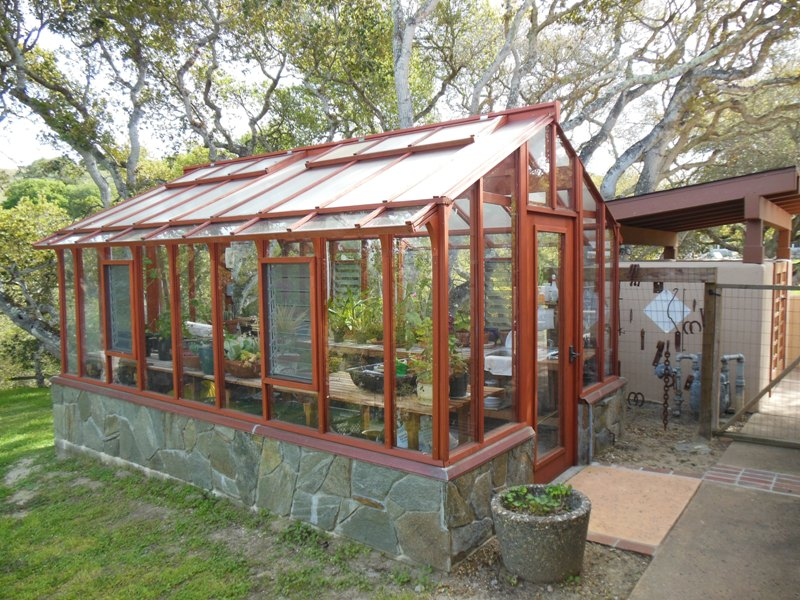 Redwood & glass greenhouse in Salinas CA