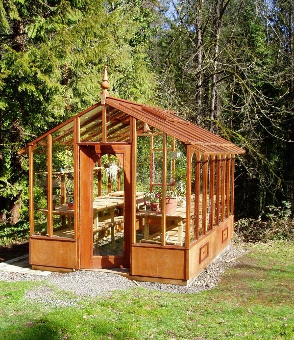 Sturdi-built Garden Deluxe redwood greenhouse display