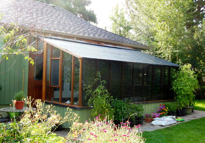 Garden Sun Room in Bend Oregon with shade cloth