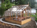 Redwood and glass greenhouse - rear view