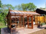 Redwood greenhouse with brick base in New Jersey