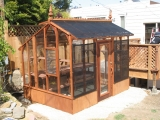 Small greenhouse with shade cloth