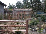 Tall garden greenhouse on Vashon Island WA