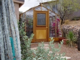 Redwood greenhouse in desert