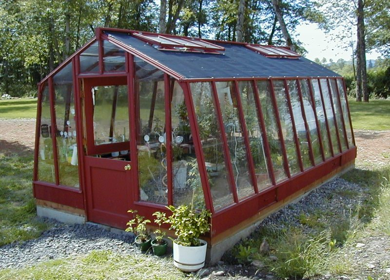 Garden greenhouse with dutch door