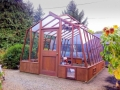 "Redwood greenhouse with 18"" high base wall"