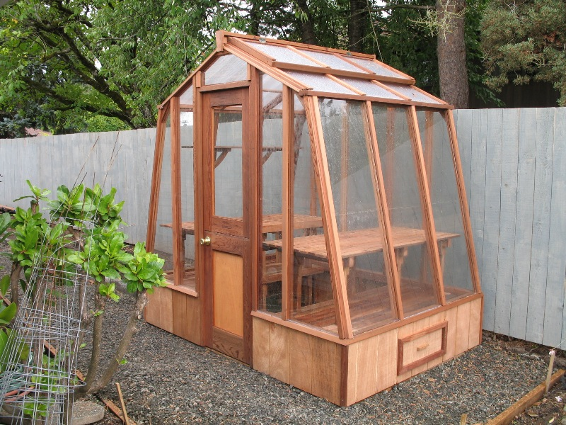 Tiny redwood greenhouse
