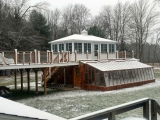 kennedy greenhouse with light dusting of snow