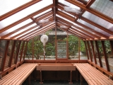 Classic redwood greenhouse interior