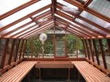 Classic redwood greenhouse interior