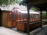 Classic redwood greenhouse