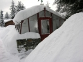 Redwood greenhouse in Alaska winter