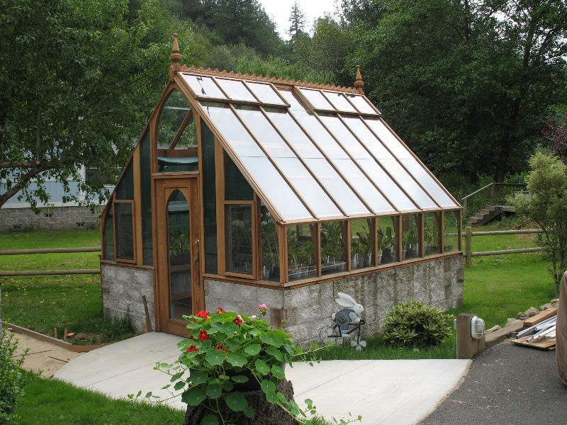 Tudor redwood and glass greenhouse