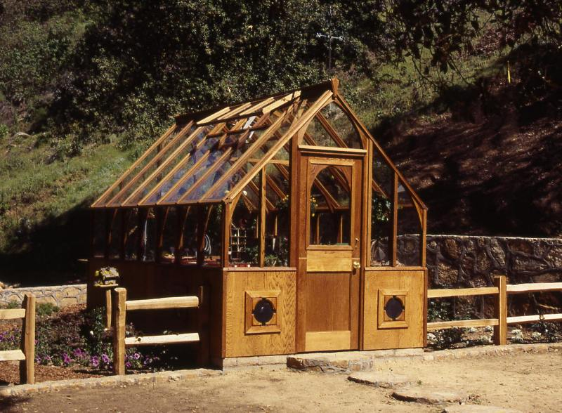 Home redwood greenhouse at a farm in California