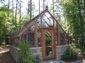 Redwood greenhouse on Masonry base