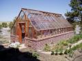 garden greenhouse on brick base