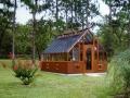 Tudor greenhouse with shade cloth