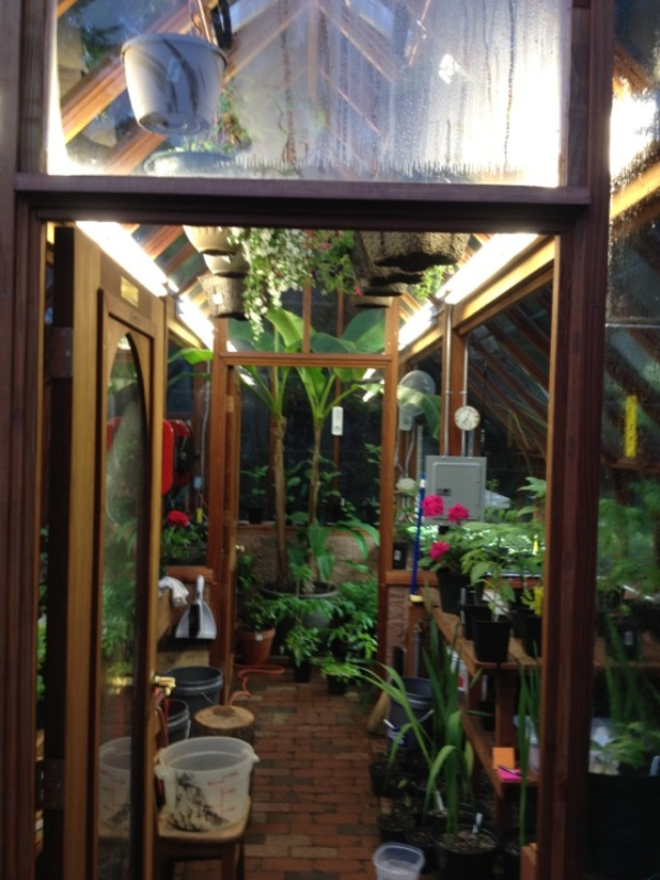 Greenhouse with interior partition wall