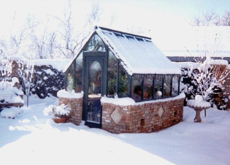 Garden greenhouse in snow, New Mexico