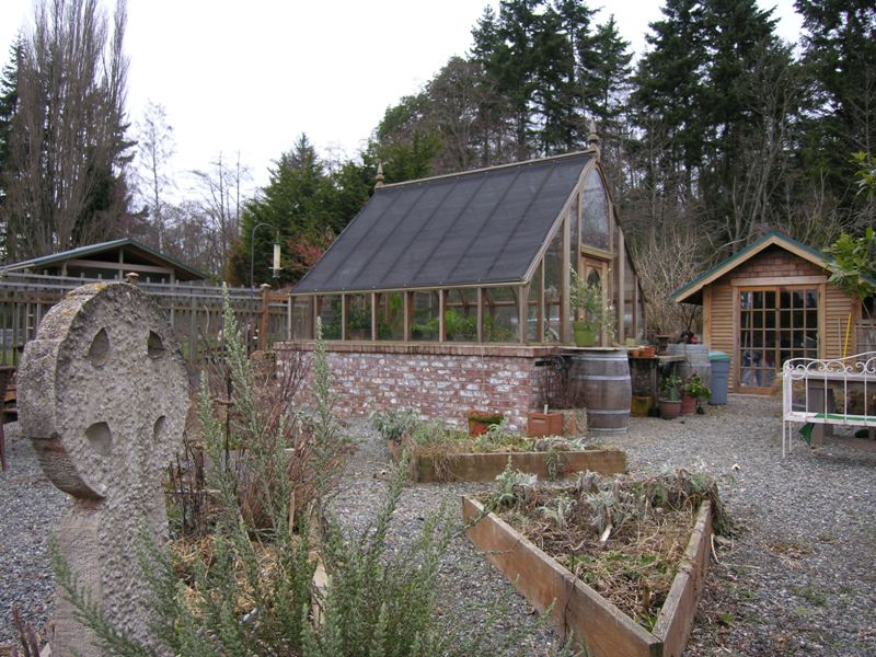 Redwood greenhouse on Vashon Island, WA