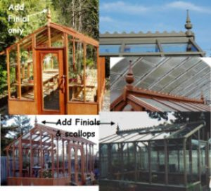 Greenhouse finials and roof scallops