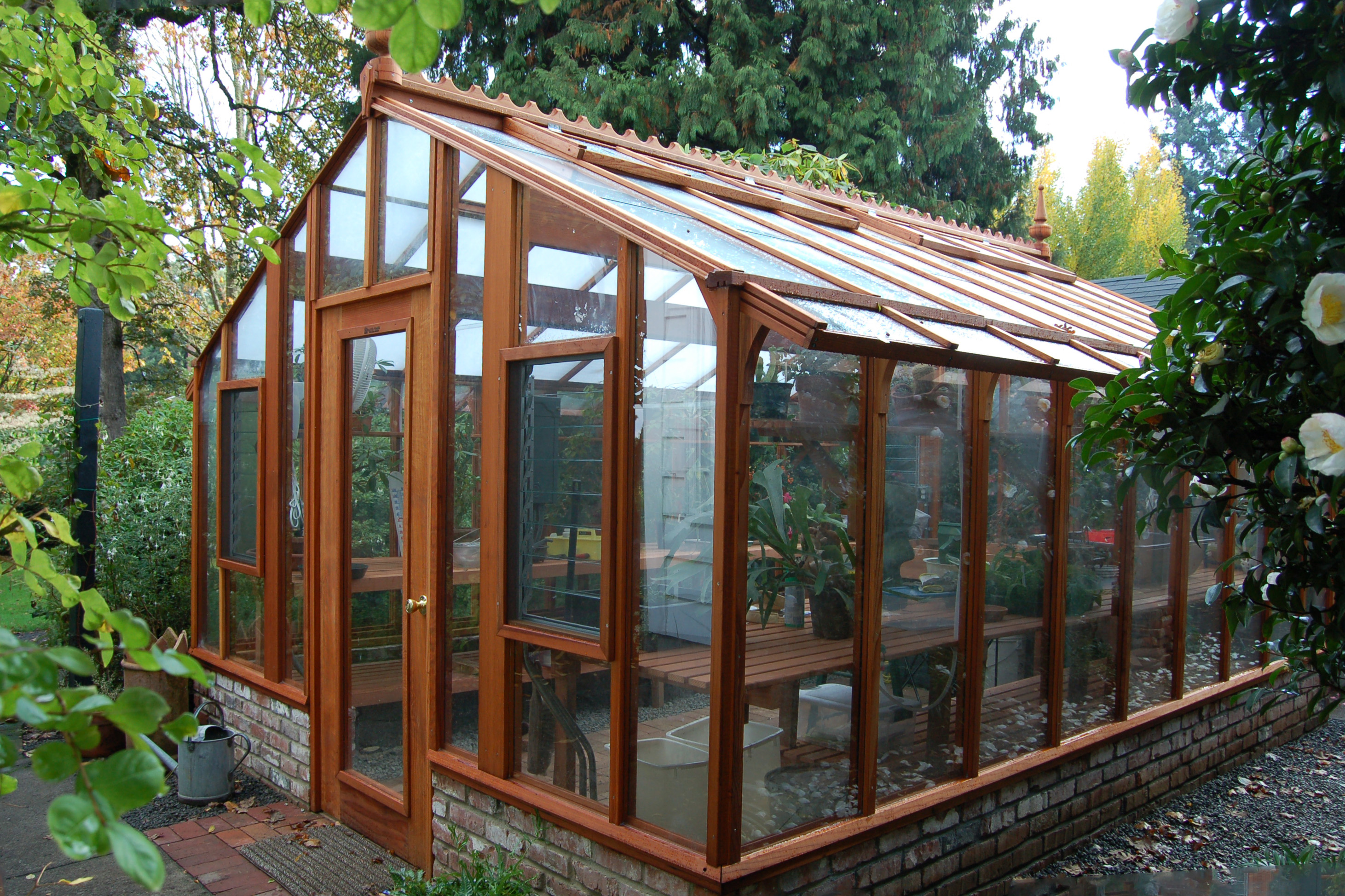 Garden Deluxe Greenhouse with brick base