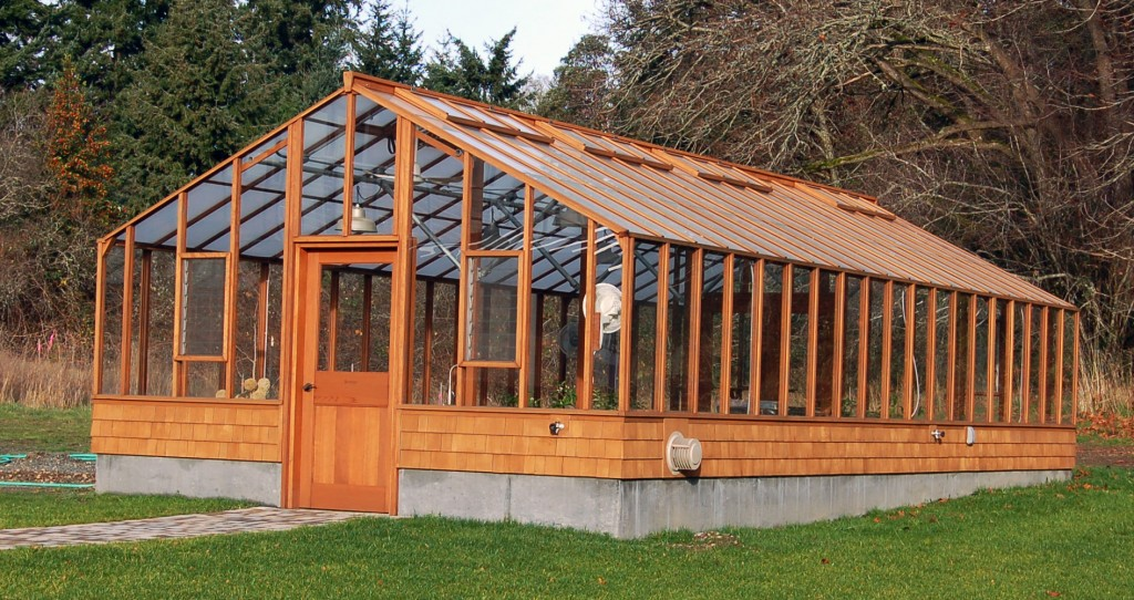 Large wooden greenhouse - a custom greenhouse with taller glass walls
