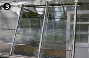 Glass is falling out of old greenhouse