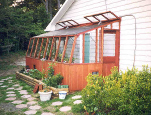 Lean-to greenhouse with roof vents