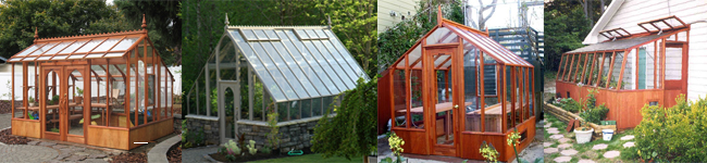 Greenhouse Kits-from left to right, Nantucket, Tudor, Trillium, Tropic lean-to